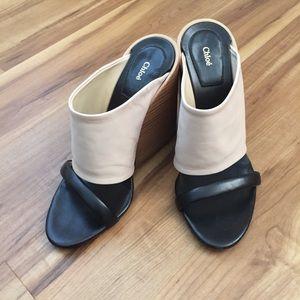 Chloe double strap slide on wedge sandals 38.5